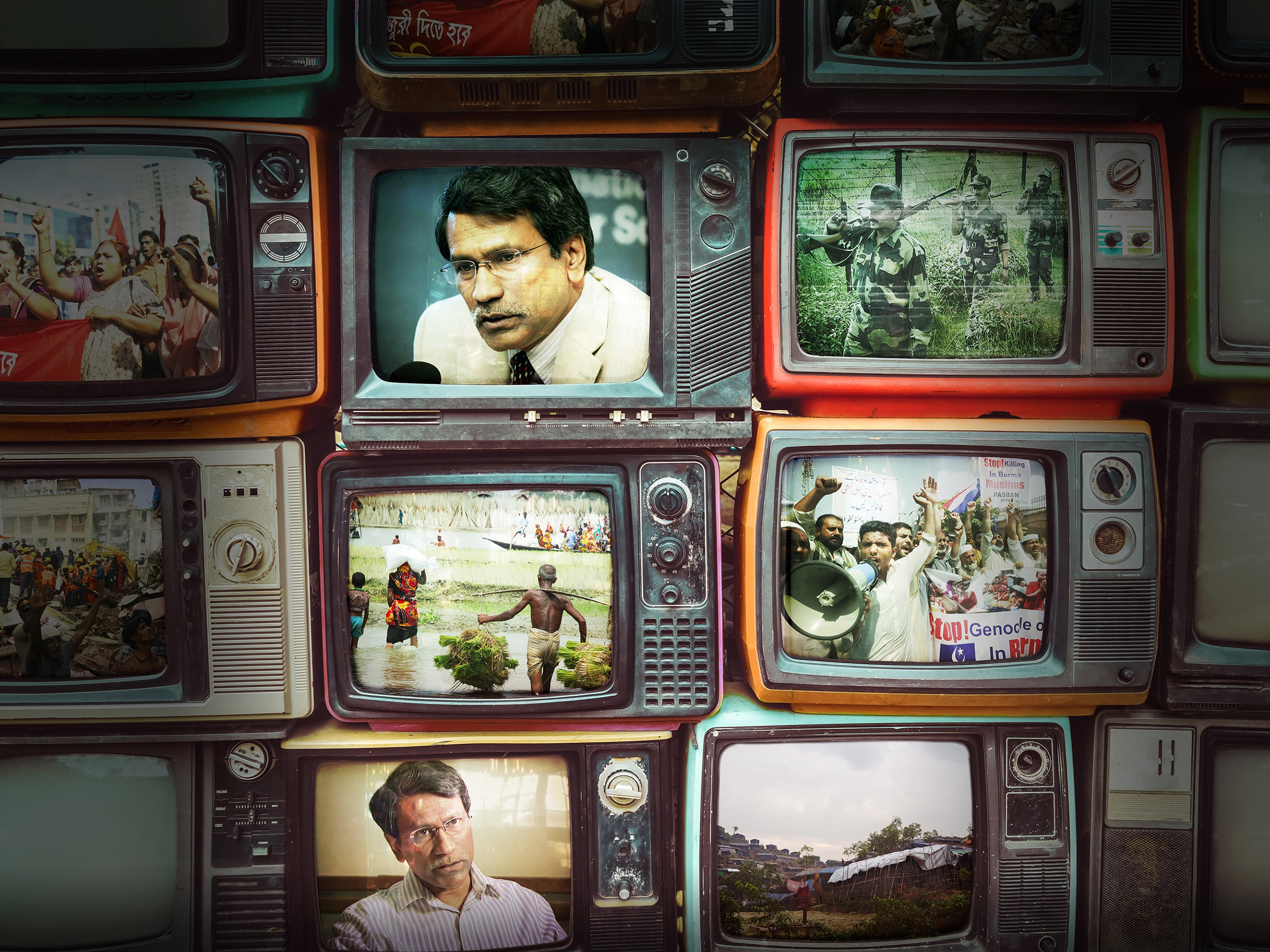 Collage of Ali Riaz and conflict images on retro televisions.