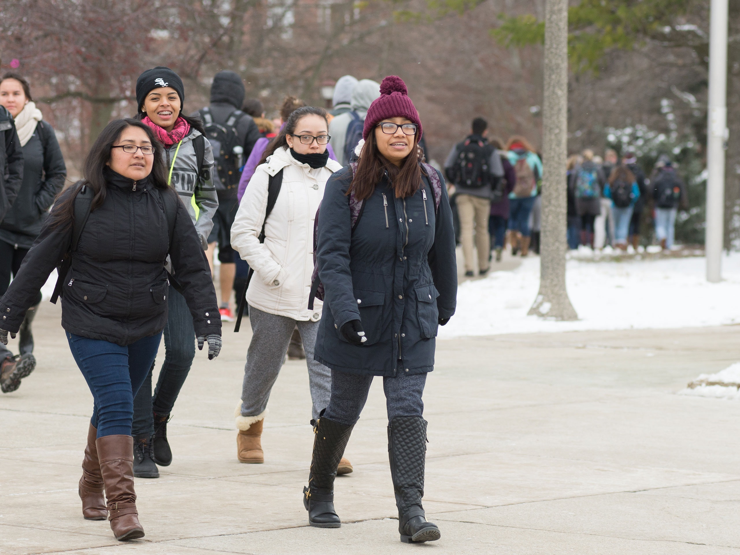 Students walking to class in winter.